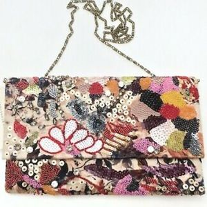 Anthropologie Floral Beaded Sequin Jeweled Clutch